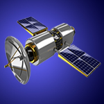 3d illustration of broadcasting satellite isolated over white background
